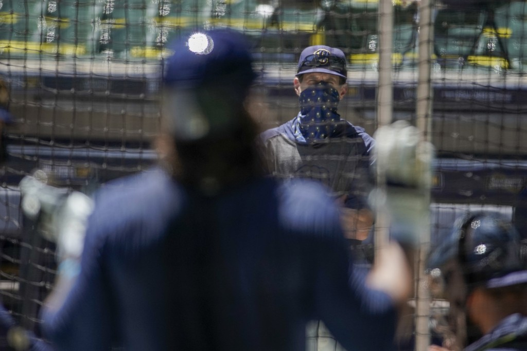 Milwaukee Brewers manager Craig Counsell watches batters during a practice session Monday, July 13, 2020, at Miller Park in Milwaukee. (AP Photo/Morry...