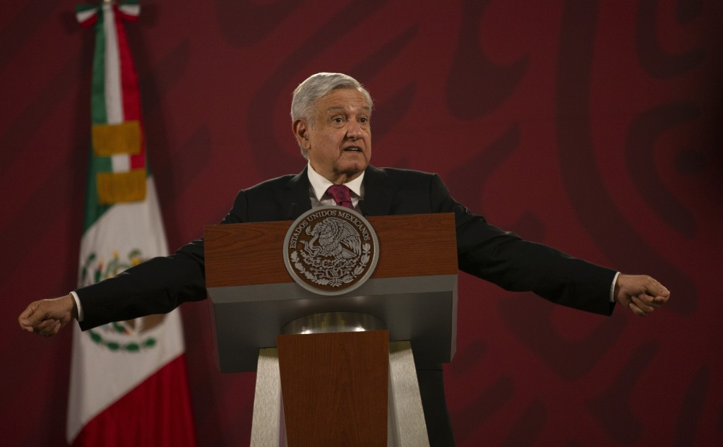 Mexico's President Andres Manuel Lopez Obrador gives his daily, morning news conference at the presidential palace, Palacio Nacional, in Mexico City, ...