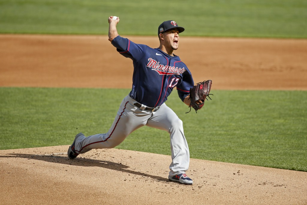 Minnesota Twins starting pitcher Jose Berrios throws in an intrasquad game at a baseball camp Monday, July 13, 2020, in Minneapolis. (AP Photo/Bruce K...