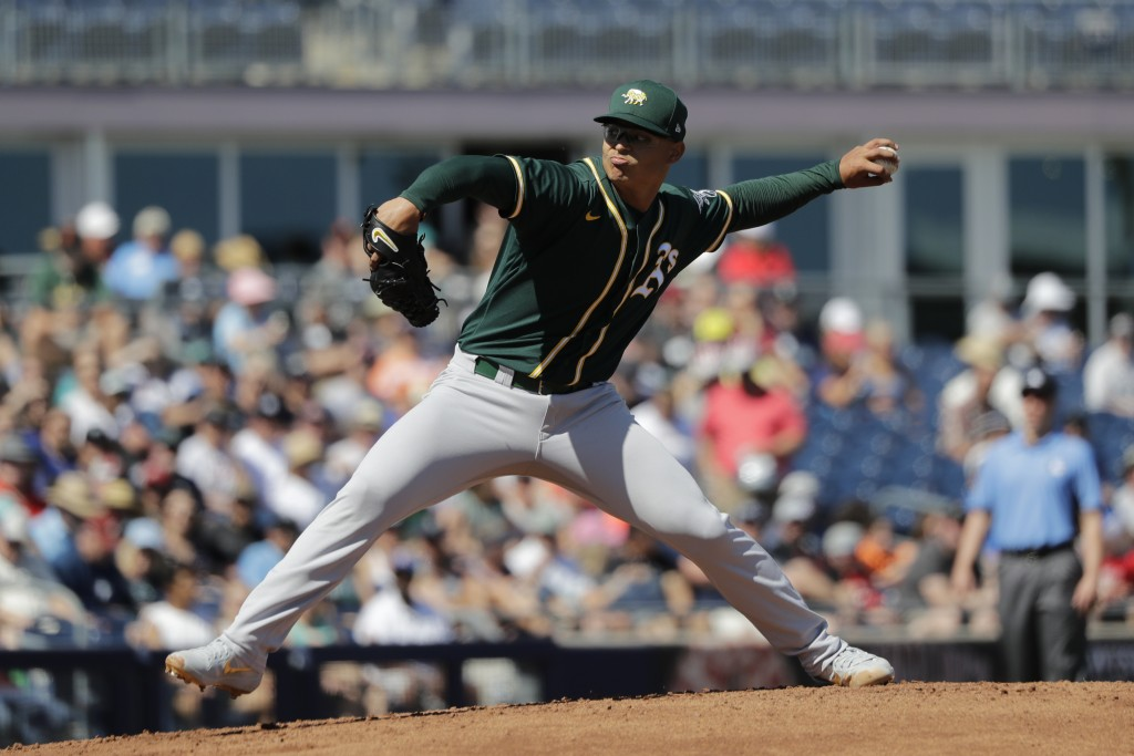 FILE - In this May 7, 2020, file photo, Oakland Athletics starting pitcher Jesus Luzardo throws against the Seattle Mariners during a spring training ...