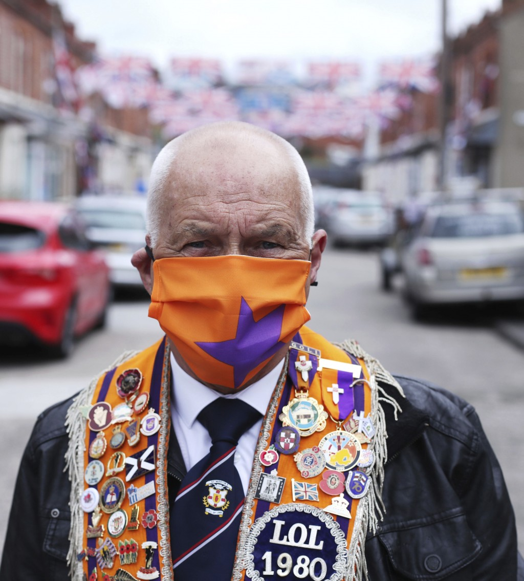 Orange Man, Brian McKee, delivers care packages to individuals who are isolating, to celebrate the 12th of July as traditional large-scale parades wer...