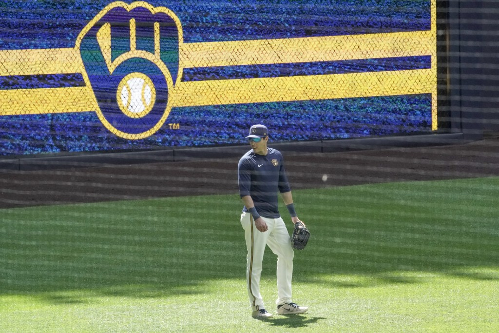 Milwaukee Brewers' Christian Yelich is seen during a practice session Monday, July 13, 2020, at Miller Park in Milwaukee. (AP Photo/Morry Gash)