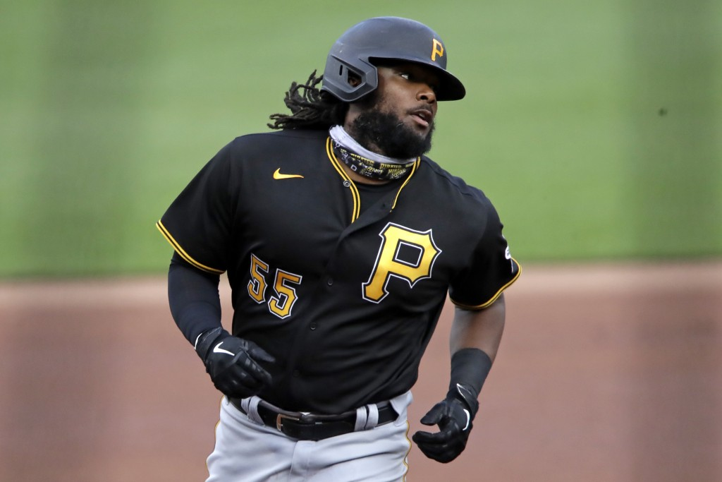 Pittsburgh Pirates Josh Bell rounds third after hitting a solo home run off Pirates pitcher Joe Musgrove during the team's intra-squad baseball game a...