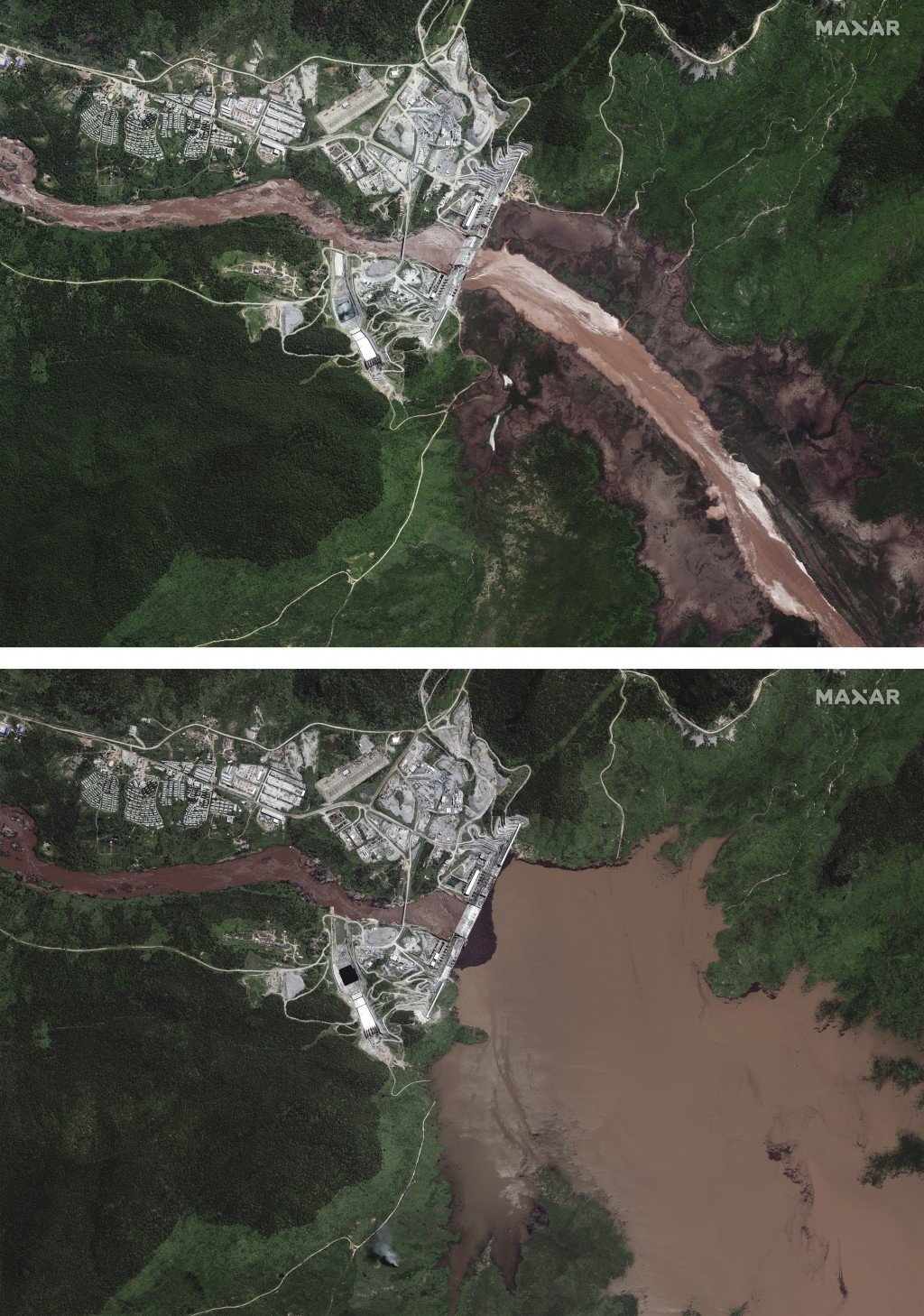 This combination image made from satellite images taken on Friday, June 26, 2020, above, and Sunday, July 12, 2020, below, shows the Grand Ethiopian R...
