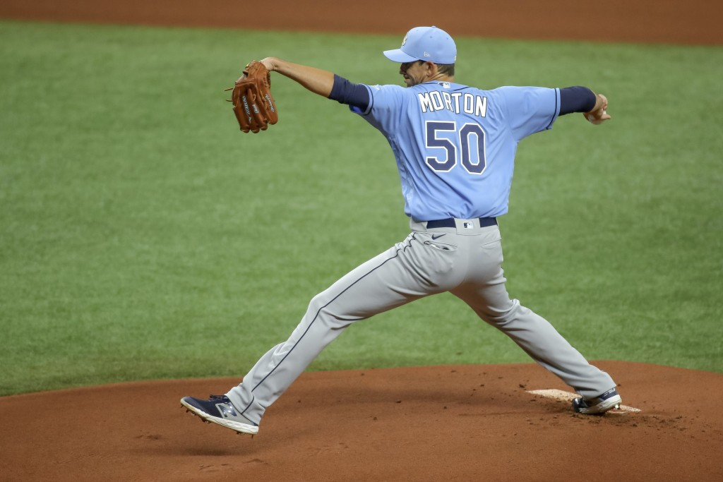 FILE - In this Wednesday, July 8, 2020, file photo, Tampa Bay Rays' Charlie Morton throws during baseball practice in St. Petersburg, Fla. (AP Photo/M...