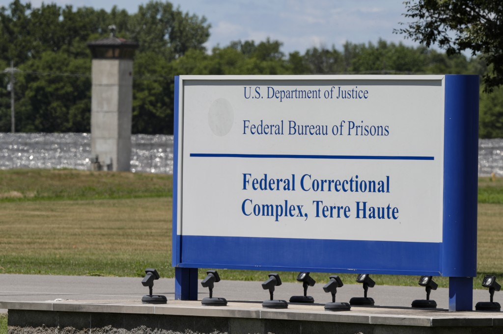 The entrance to the federal prison in Terre Haute, Ind., is shown Monday, July 13, 2020. Daniel Lewis Lee, a convicted killer, was scheduled to be exe...