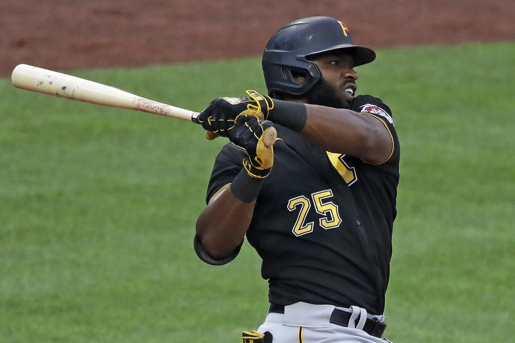 Pittsburgh Pirates Gregory Polanco singles off Pirates pitcher Joe Musgrove during the team's intrasquad baseball game at PNC Park in Pittsburgh, Mond...