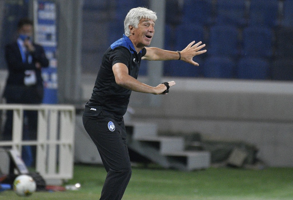 Atalanta's manager Gian Piero Gasperini gives instructions during a Serie A soccer match between Atalanta and Brescia, at the Gewiss Stadium in Bergam...