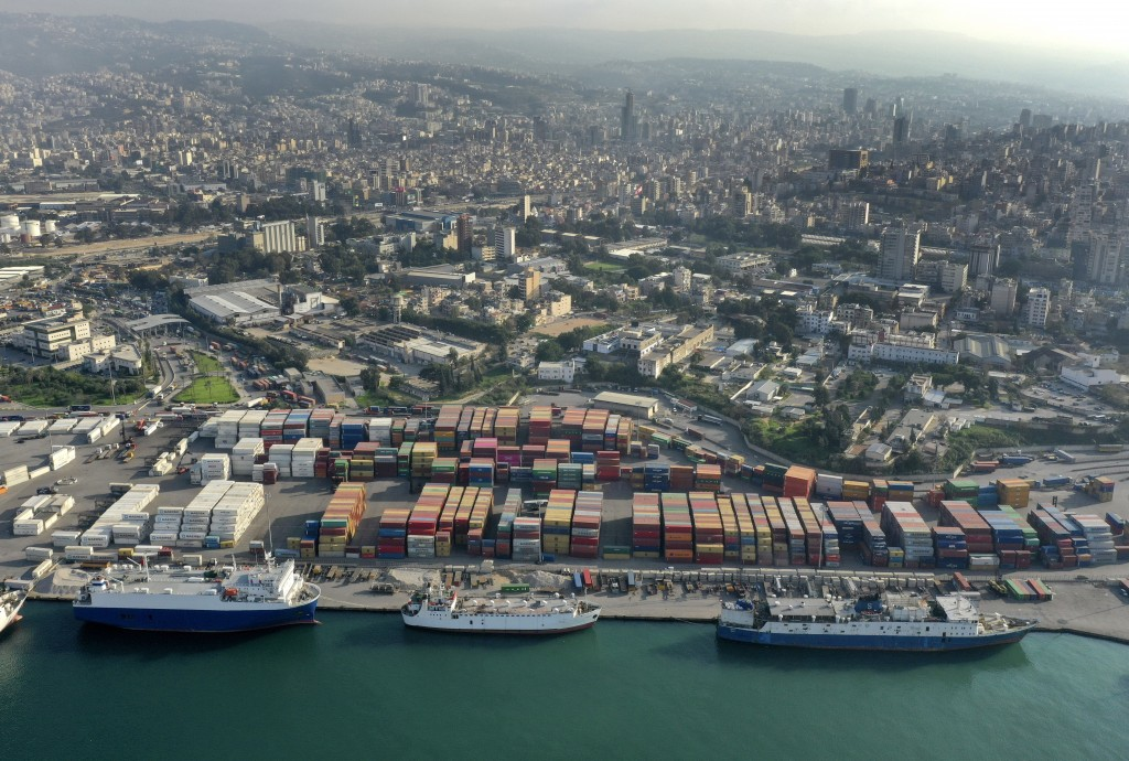 A drone picture shows a general view of containers are piled up at one of Beirut's seaport terminal, in Beirut, Lebanon, Nov. 30, 2018. In recent week...