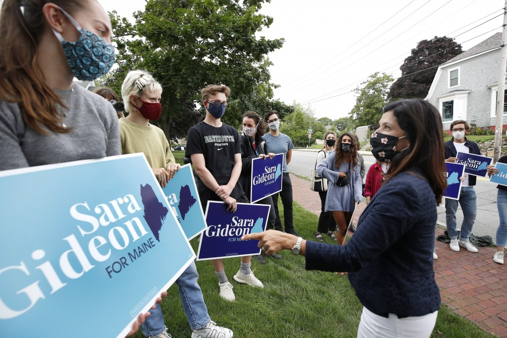 Maine House speaker Sara Gideon, D-Freeport, speaks to supporters near a polling station, Tuesday, July 14, 2020, in Portland, Maine. Gideon is one of...