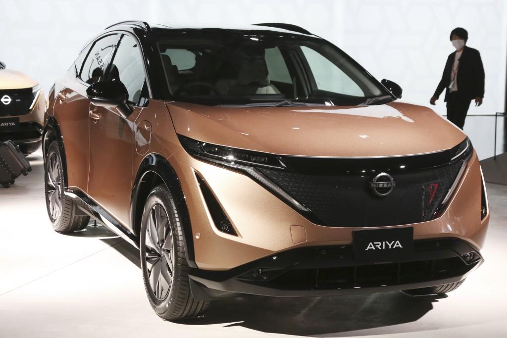 Nissan Motor Co.'s new electric crossover Ariya is displayed at Nissan Pavilion in Yokohama near Tokyo Tuesday, July 14, 2020. The Ariya is the Japane...