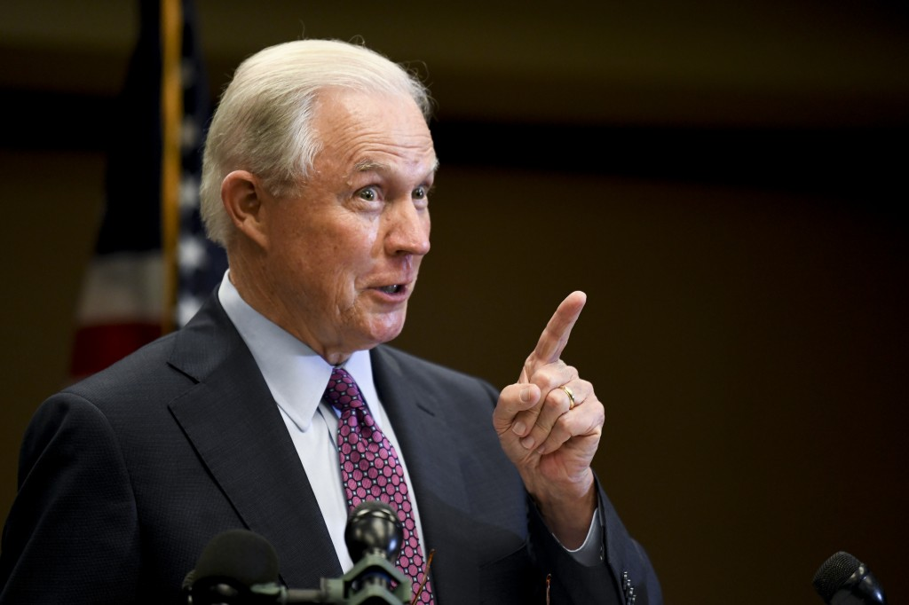 Former U.S. Attorney General Jeff Sessions delivers his concession speech after results are announced in the Alabama GOP primary runoff election, Tues...