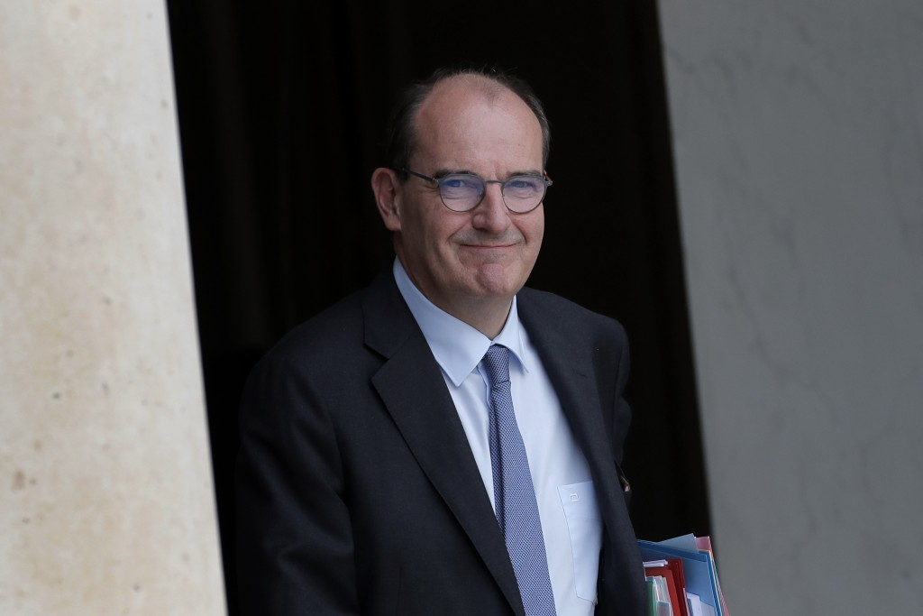 France's Prime Minister Jean Castex leaves after the weekly cabinet meeting at the Elysee Palace in Paris, Wednesday, July 15, 2020. (AP Photo/Christo...