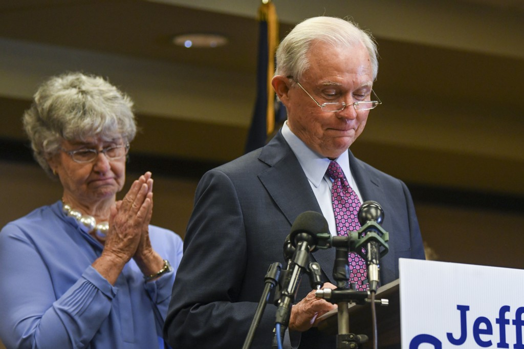 Former U.S. Attorney General Jeff Sessions delivers his concession speech next to his wife, Mary, Tuesday, July 14, 2020, in Mobile, Ala. Sessions los...