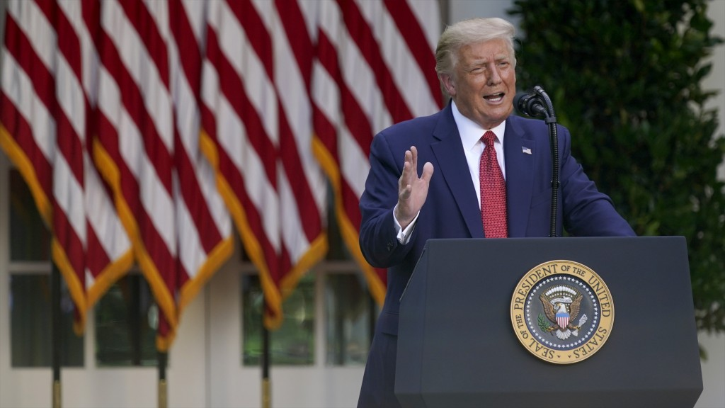 President Donald Trump speaks during a news conference in the Rose Garden of the White House, Tuesday, July 14, 2020, in Washington. (AP Photo/Evan Vu...