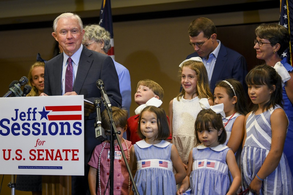 Former U.S. Attorney General Jeff Sessions, joined by family members, delivers his concession speech Tuesday, July 14, 2020, in Mobile, Ala. Sessions ...