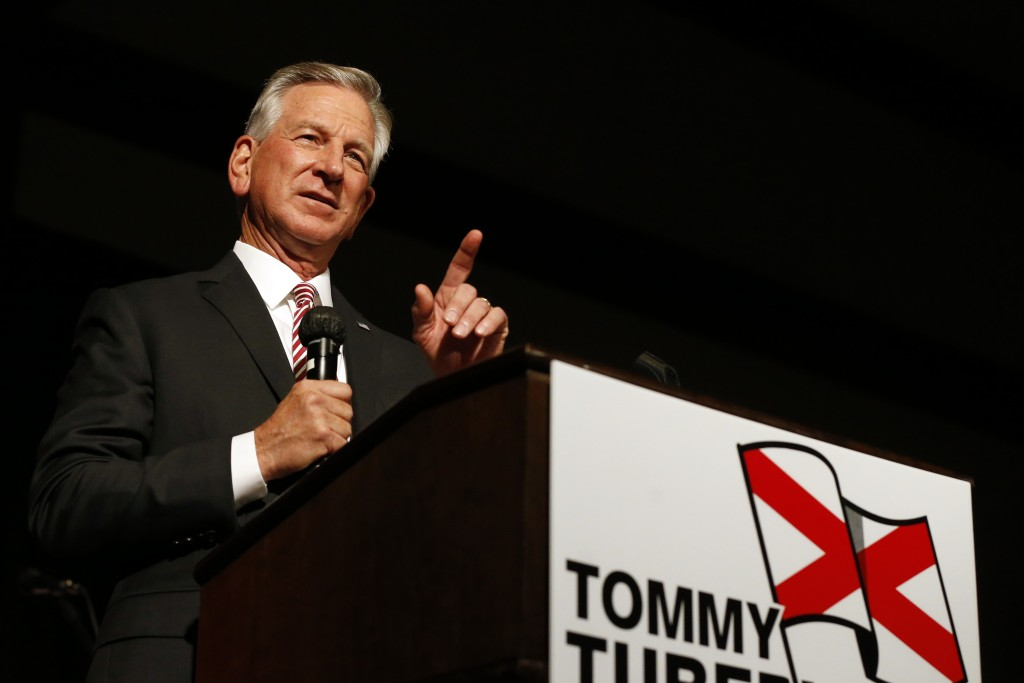 Former Auburn football coach Tommy Tuberville speaks to supporters after defeating former U.S. Attorney General Jeff Sessions in the runoff election o...