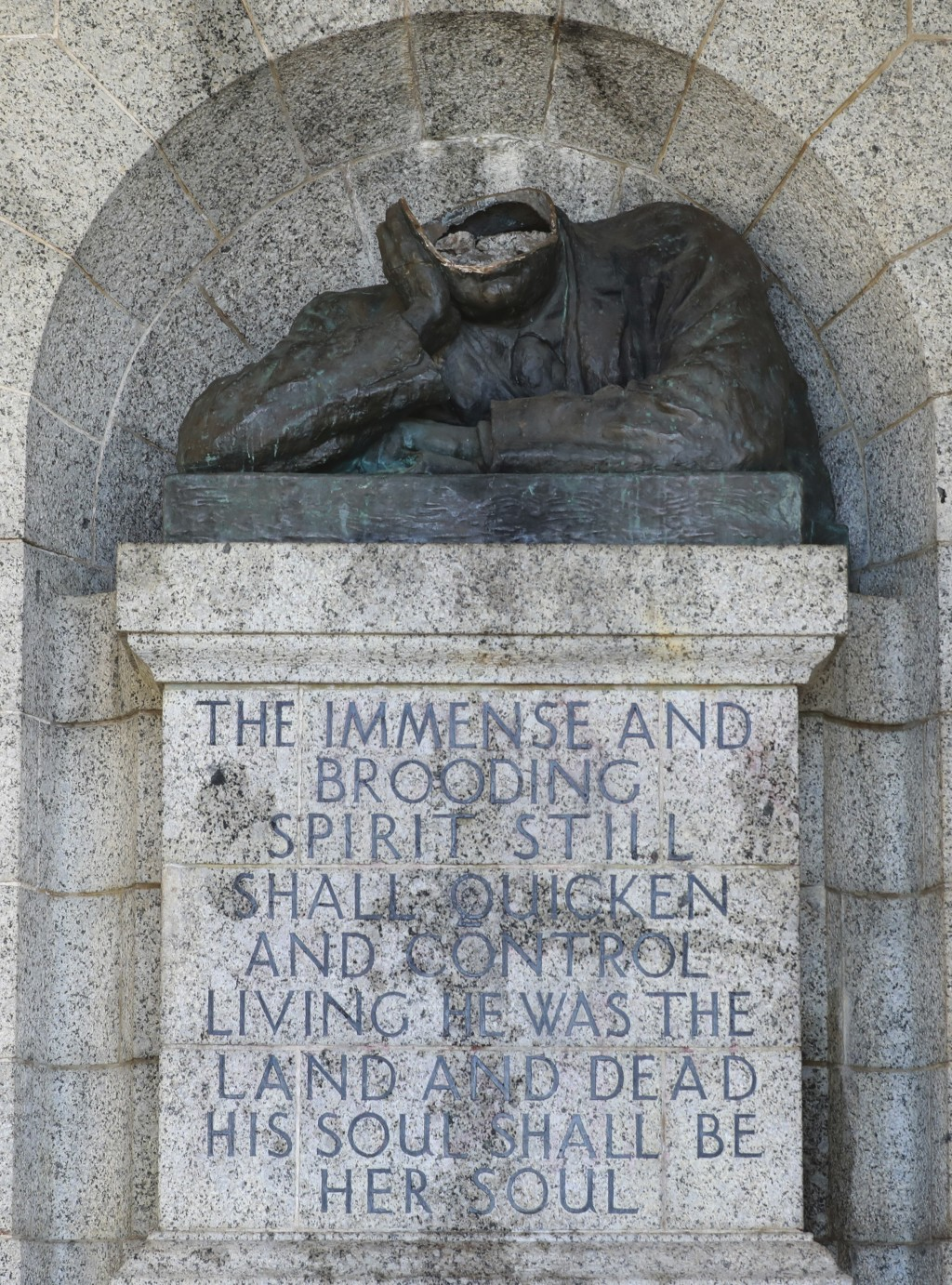 A view of the vandalised statue of Cecil Rhodes, at the Rhodes Memorial in Cape Town, South Africa, Wednesday, July 15, 2020. A statue of the British ...