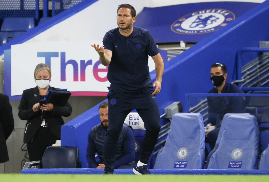 Chelsea's head coach Frank Lampard gestures during the English Premier League soccer match between Chelsea and Norwich City at Stamford Bridge in Lond...