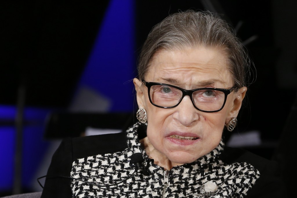 FILE - In this Dec. 17, 2019, file photo, Supreme Court Justice Ruth Bader Ginsburg looks up as she speaks about the antics of her son as she speaks w...
