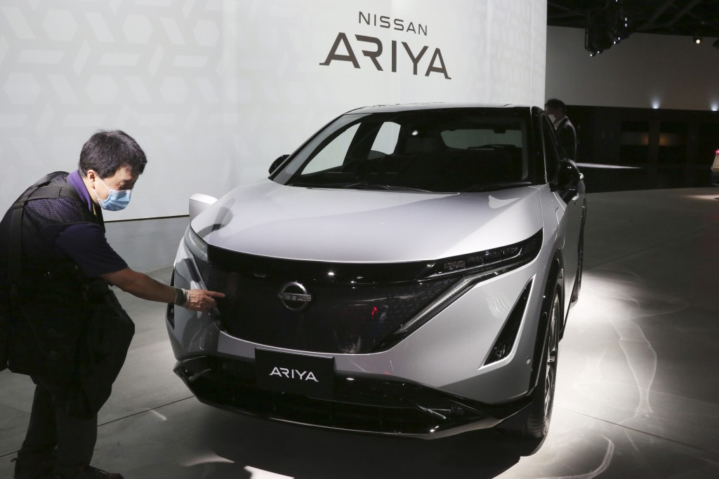 Nissan Motor Co.'s new electric crossover Ariya is displayed for media at Nissan Pavilion in Yokohama near Tokyo Tuesday, July 14, 2020. The Ariya is ...