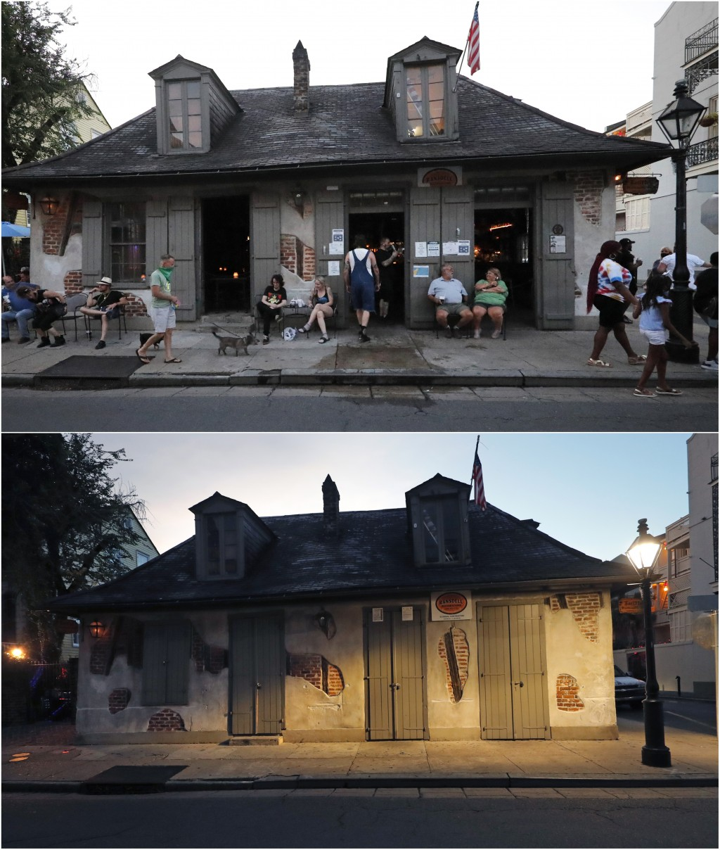 In this combination photo, patrons sit outside Lafitte's Blacksmith Shop Bar, top, in the French Quarter of New Orleans, July 9, 2020 and on July 14, ...