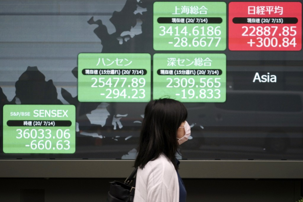 A woman walks past an electronic stock board showing Japan's Nikkei 225 and other Asian countries indexes at a securities firm in Tokyo Wednesday, Jul...