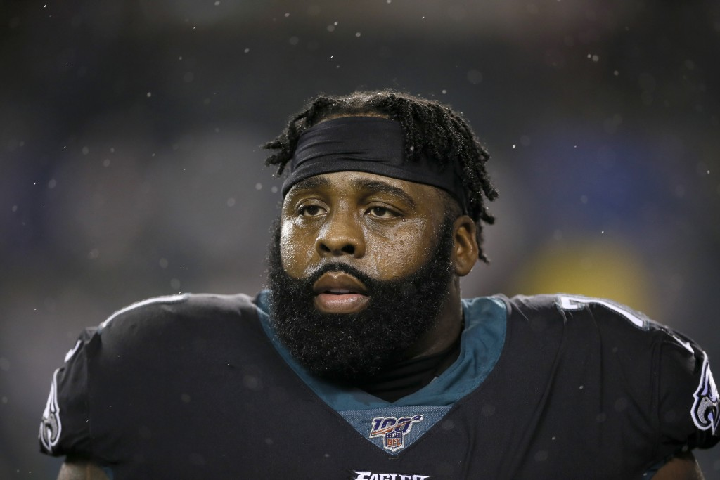 FILE - This Dec. 9, 2019, file photo shows Philadelphia Eagles' Jason Peters during an NFL football game against the New York Giants in Philadelphia. ...