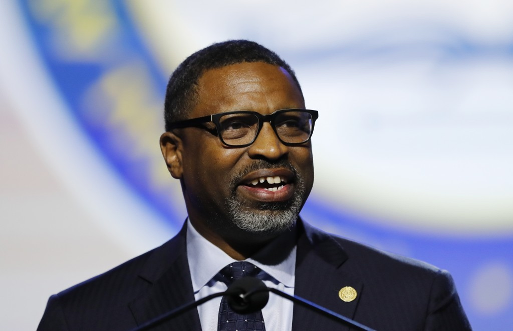 FILE - NAACP President and CEO, Derrick Johnson addresses the 110th NAACP National Convention in Detroit on July 22, 2019. CBS Television and the NAAC...