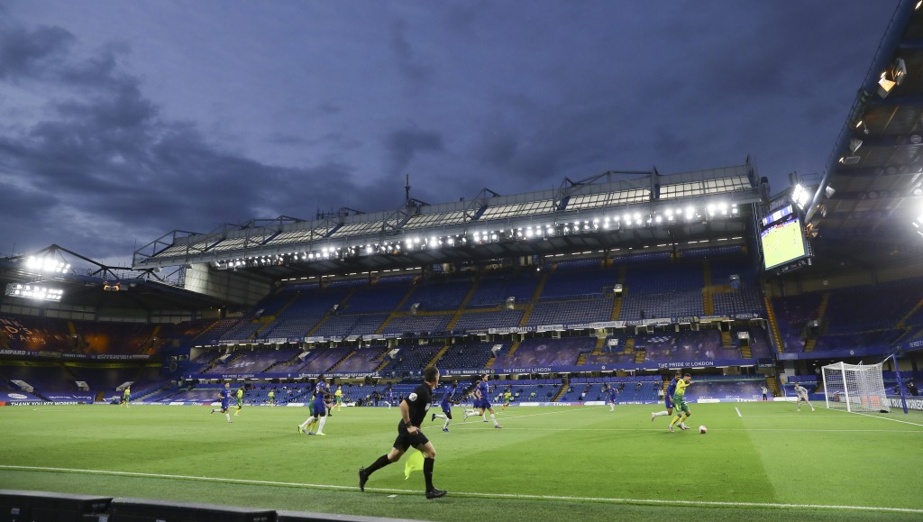 Players in action during the English Premier League soccer match between Chelsea and Norwich City at Stamford Bridge in London, England, Tuesday, July...