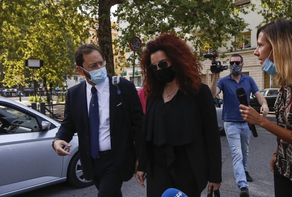 Rosa Maria Esilio, center, widow of Italian Carabinieri paramilitary police officer Mario Cerciello Rega, arrives for an hearing of the trial for his ...