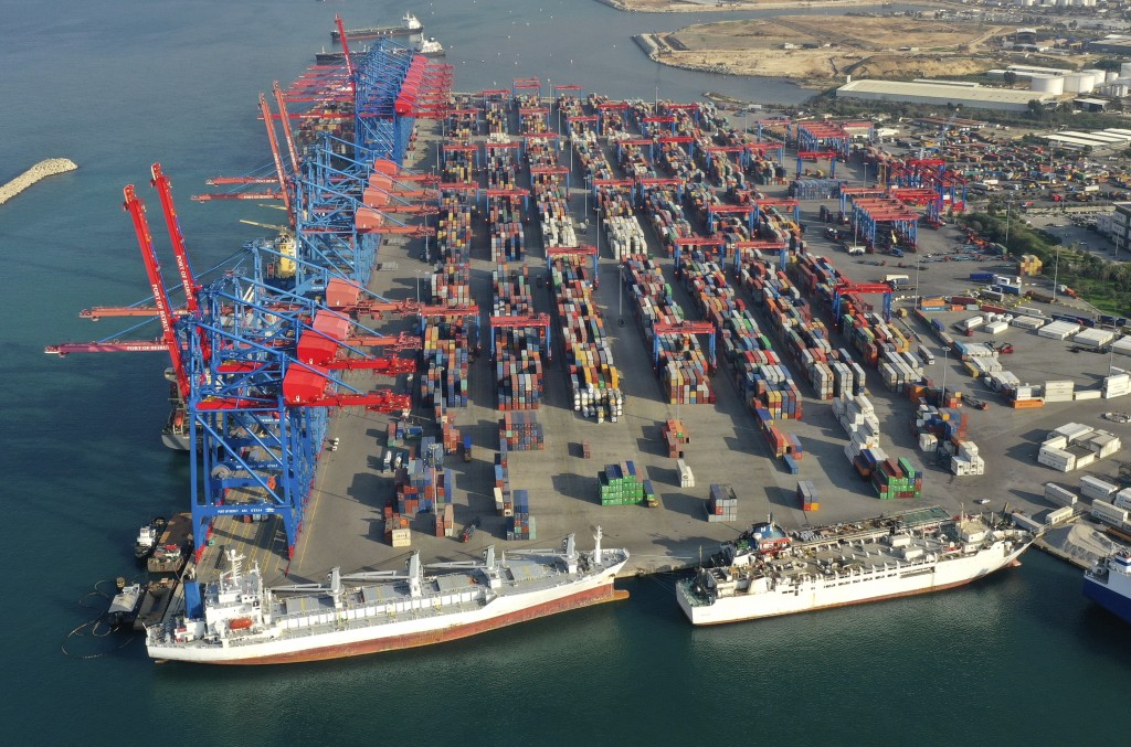 A drone picture shows a general view of containers piled up at one of Beirut's seaport terminals, in Beirut, Lebanon, Nov. 30, 2018. In recent weeks, ...