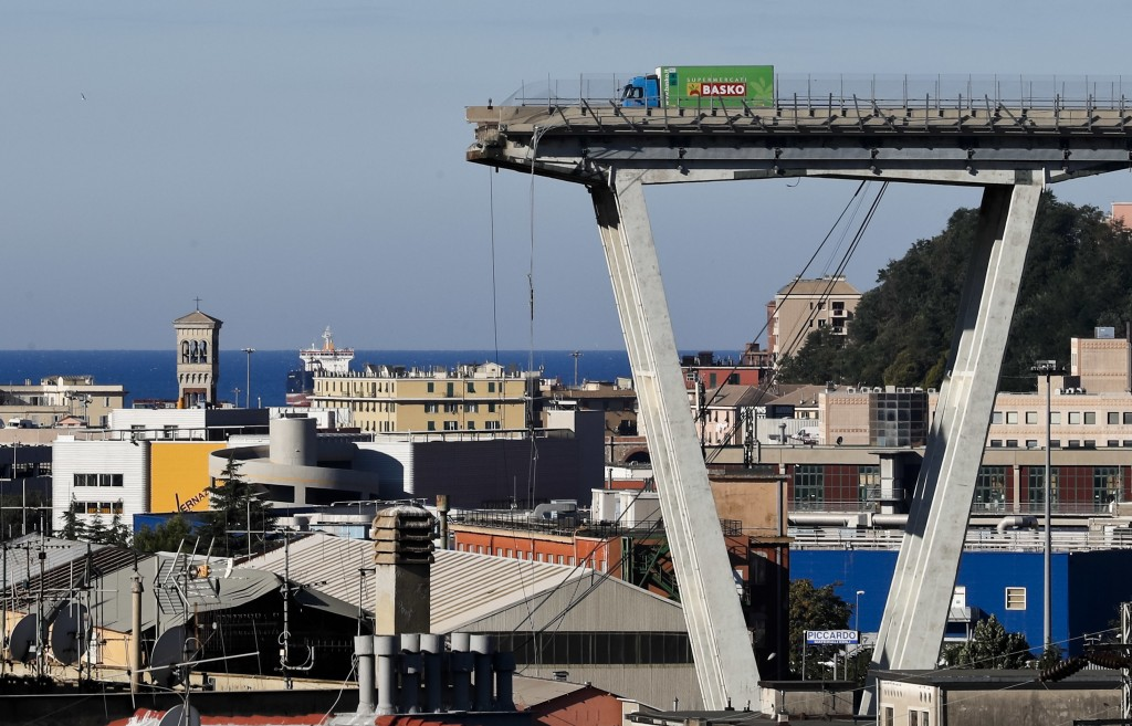 FILE - A Wednesday, Aug. 15, 2018 file photo showing a view of the Morandi highway bridge that collapsed in Genoa, northern Italy. Italy's government ...