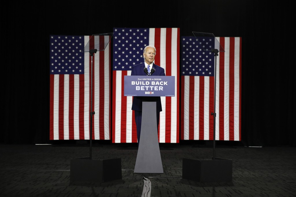 Democratic presidential candidate, former Vice President Joe Biden speaks during a campaign event, Tuesday, July 14, 2020, in Wilmington, Del. (AP Pho...