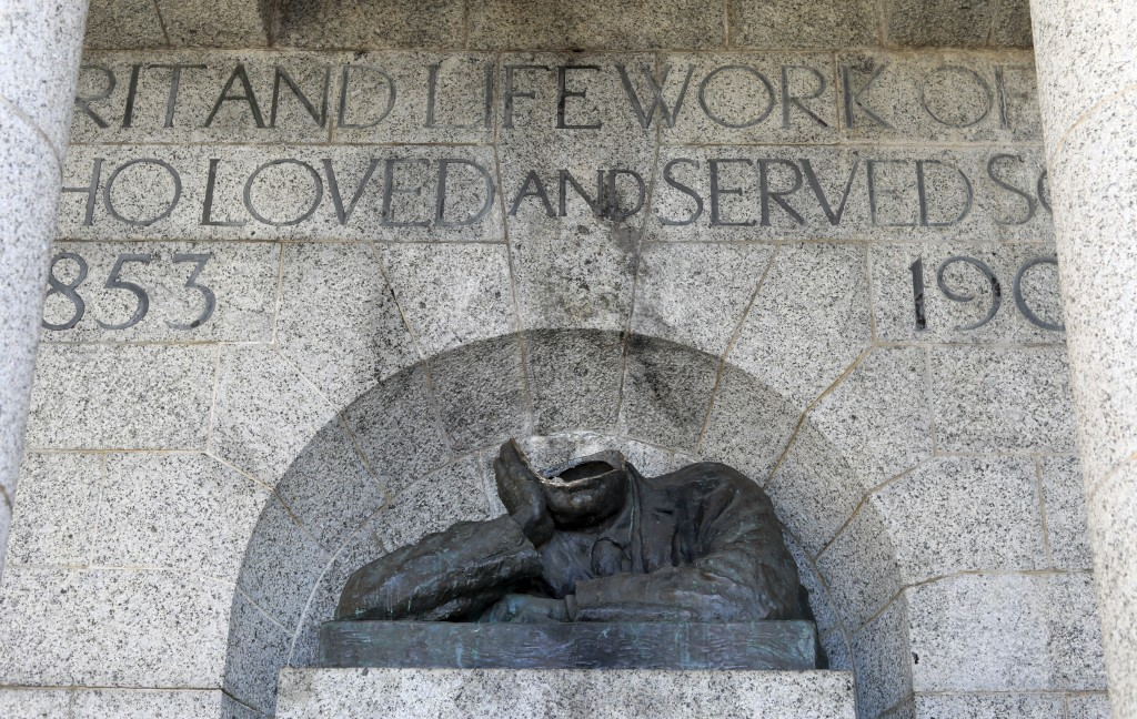 A view of the vandalised statue of Cecil Rhodes, at the Rhodes Memorial in Cape Town, South Africa, Wednesday, July 15,2020. A statue of the British c...