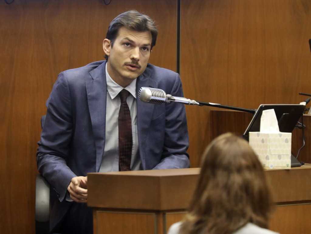 FILE - Ashton Kutcher testifies in the murder trial of Michael Gargiulo at Los Angeles Superior Court, in a Wednesday, May 29, 2019file photo. Iowa Au...