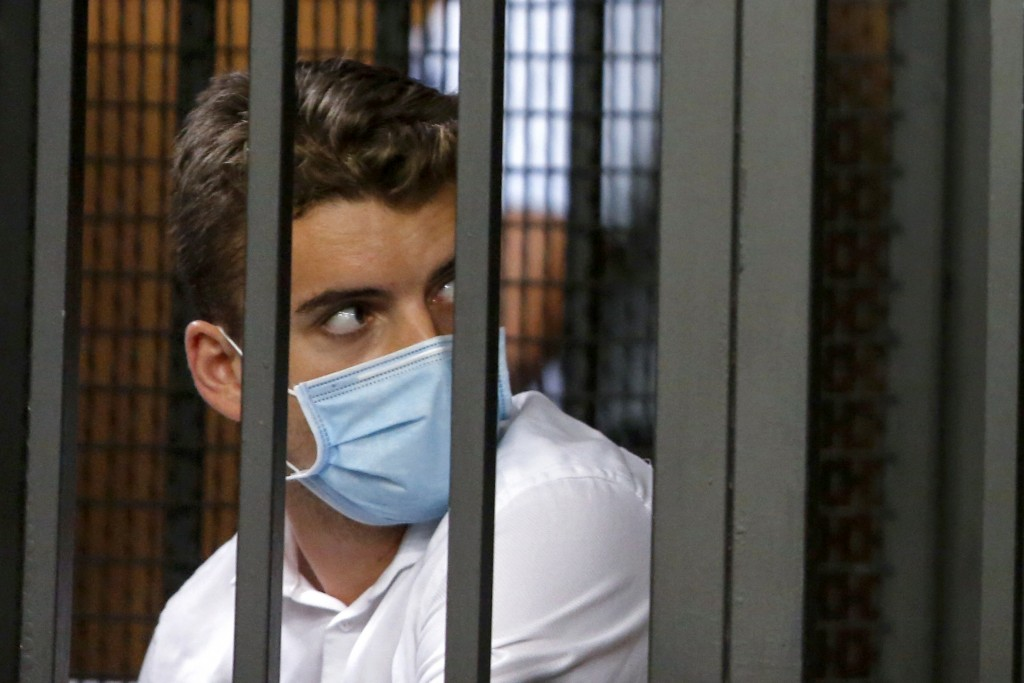 Gabriel Natale-Hjorth, from San Francisco, California, attends a hearing of the trial for the case of two American teenagers accused of slaying Italia...