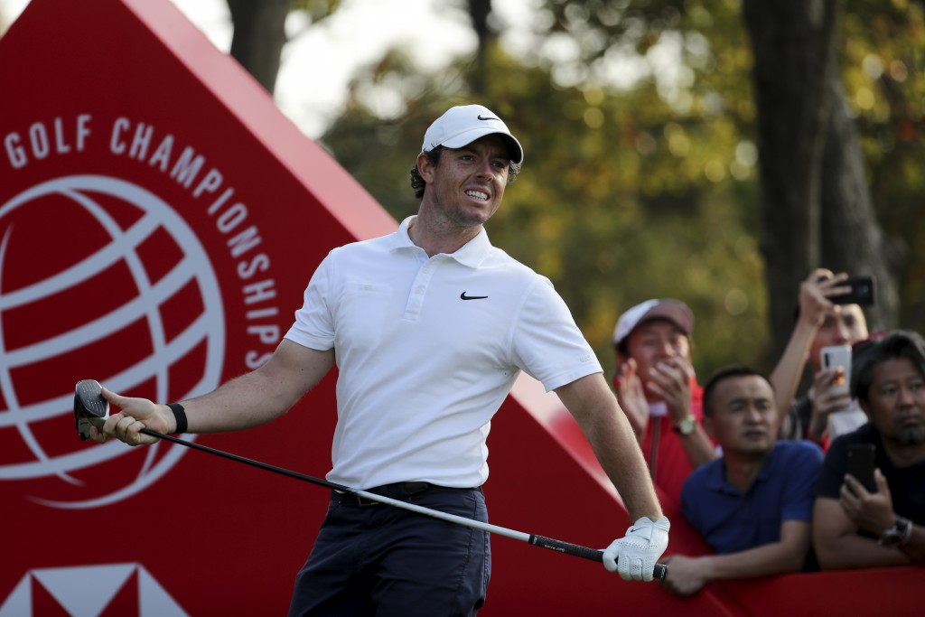 FILE - In this Sunday, Nov. 3, 2019, file photo, Rory McIlroy of Northern Ireland looks out after teeing off for the HSBC Champions golf tournament at...