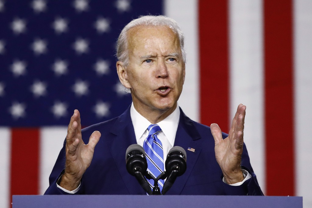 Democratic presidential candidate, former Vice President Joe Biden, speaks during a campaign event, Tuesday, July 14, 2020, in Wilmington, Del. (AP Ph...