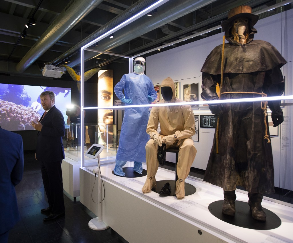"""Dutch King Willem-Alexander tours the """"Contagious!"""" exhibit at Rijksmuseum Boerhave in Leiden, Netherlands, Thursday, July 16, 2020. The museum finall..."""