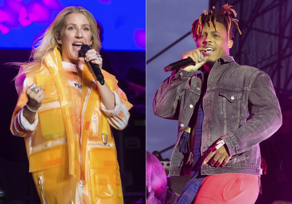 In this combination photo, recording artist Ellie Goulding performs at BLI Summer Jam 2019 in Wantagh, N.Y. on  June, 14, 2019, left, and Juice WRLD p...