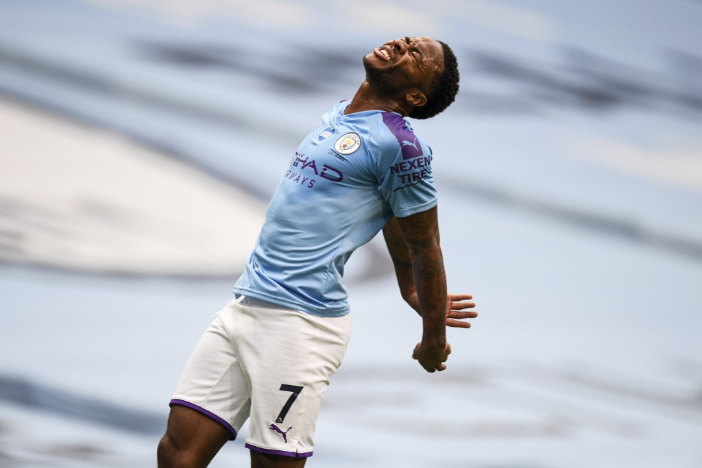 Manchester City's Raheem Sterling reacts during the English Premier League soccer match between Manchester City and Bournemouth at the Ethiad Stadium ...