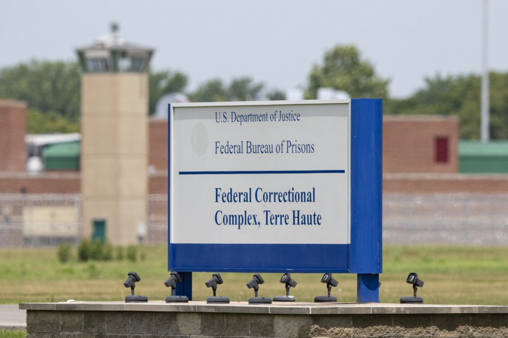 The entrance to the federal prison in Terre Haute, Ind., Wednesday, July 15, 2020. Wesley Ira Purkey, who raped and murdered a 16-year-old girl and ki...