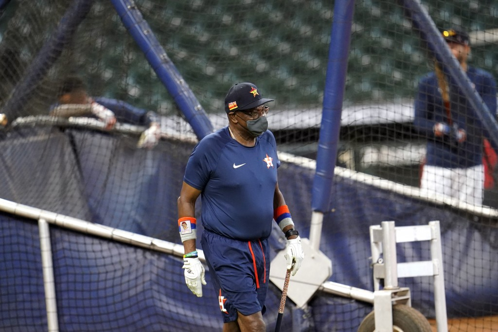 Houston Astros manager Dusty Baker watches during a baseball practice Wednesday, July 15, 2020, in Houston. (AP Photo/David J. Phillip)
