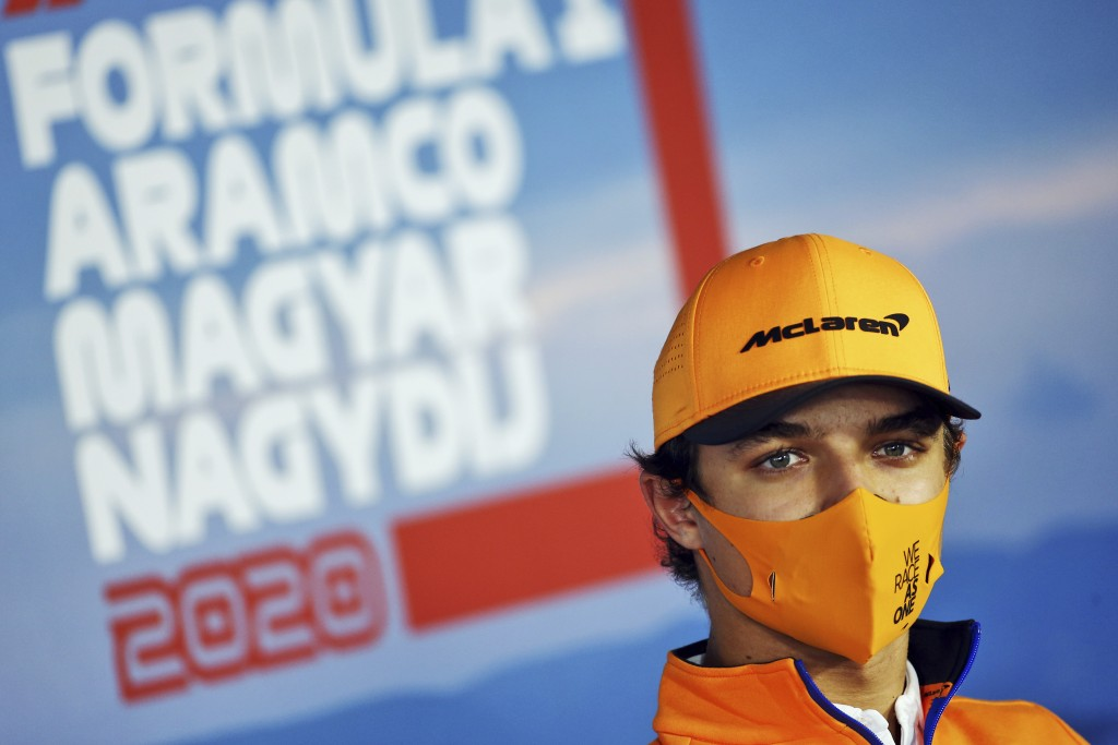 Mclaren driver Lando Norris of Britain attends drivers news conference at the Hungaroring racetrack in Mogyorod, Hungary, Thursday, July 16, 2020. The...