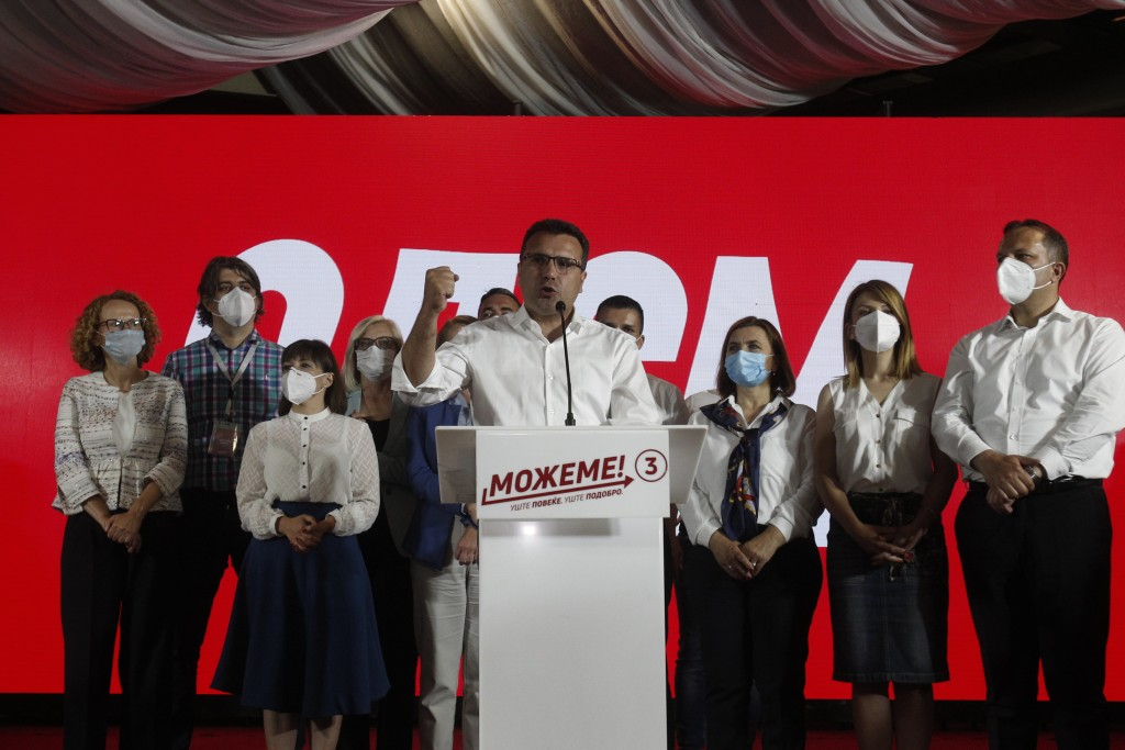 The leader of the ruling SDSM party Zoran Zaev speaks after his victory at the North Macedonia general election, in Skopje, early Tuesday, July 16, 20...
