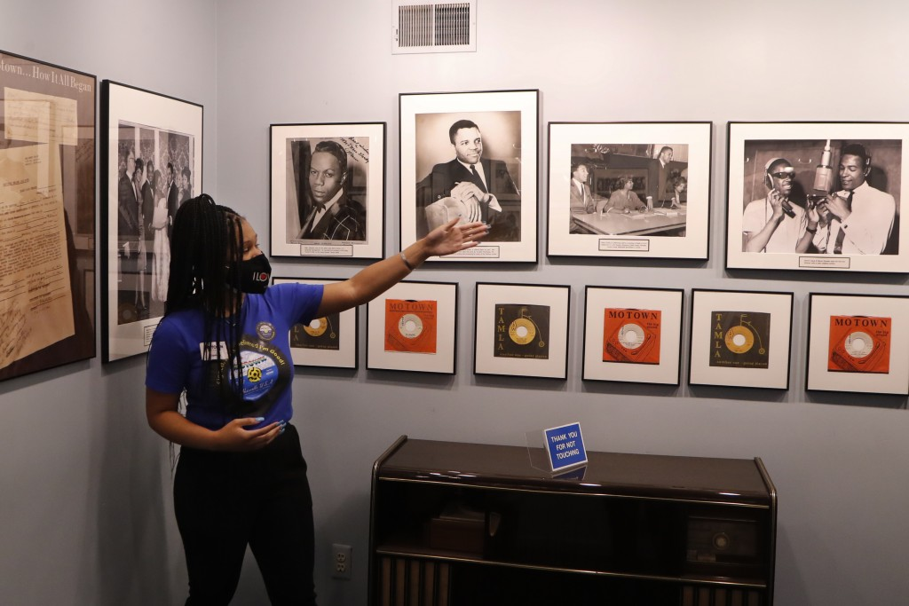 Motown Museum tour guide Jamia Henry points out notable Motown legends during a tour of the museum, Wednesday, July 15, 2020, in Detroit. The Detroit ...