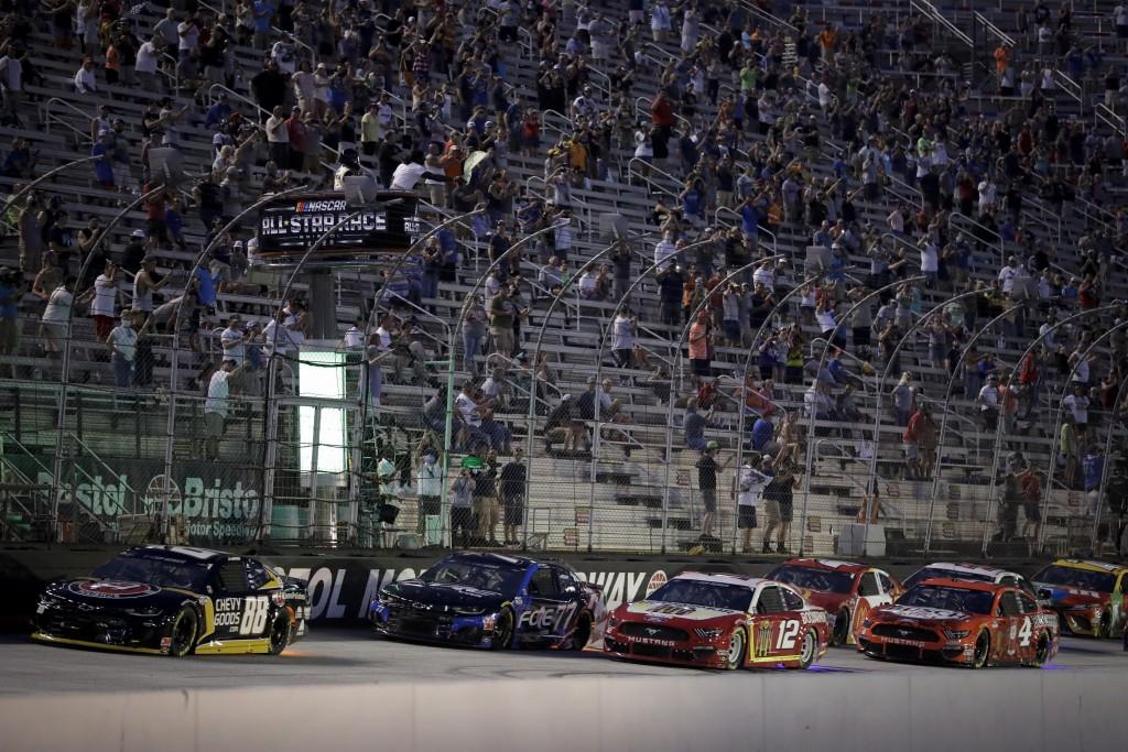 Cars run during a NASCAR All-Star auto race at Bristol Motor Speedway in Bristol, Tenn, Wednesday, July 15, 2020. (AP Photo/Mark Humphrey)