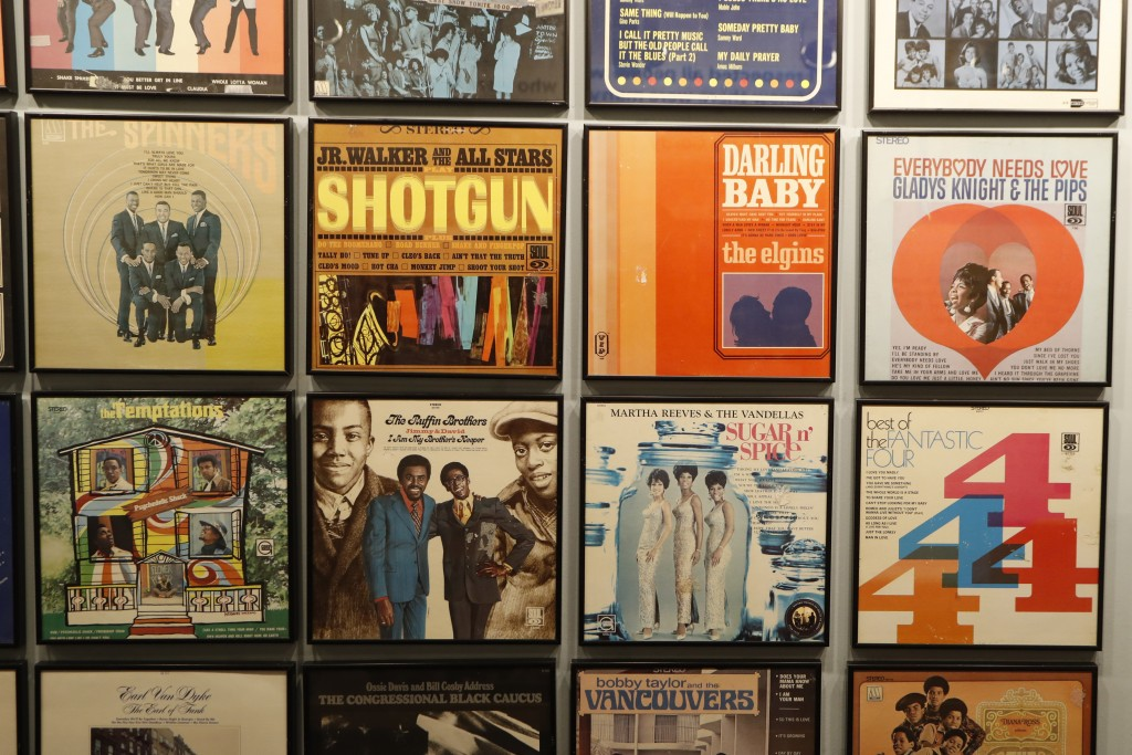 Closeup of album covers displayed during a tour of the Motown Museum, Wednesday, July 15, 2020, in Detroit. The Detroit building where Gordy built his...