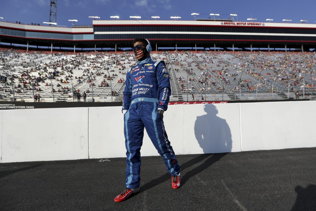 Bubba Wallace (43) arrives for a NASCAR All-Star Open auto race at Bristol Motor Speedway in Bristol, Tenn, Wednesday, July 15, 2020. (AP Photo/Mark H...